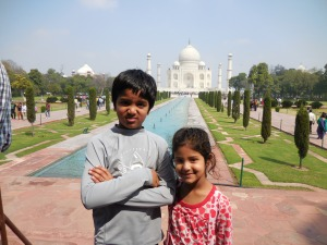 Amithy and Vikram at Taj Mahal